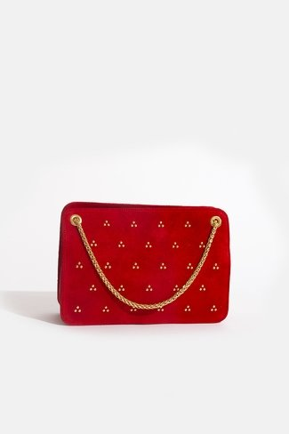 Double Chain Bag Gold Dots Red Sweet Like You