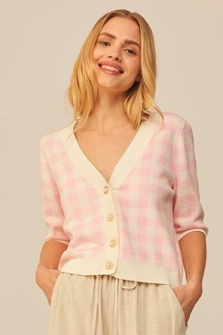 Cherith Check Cardigan Pink MbyM